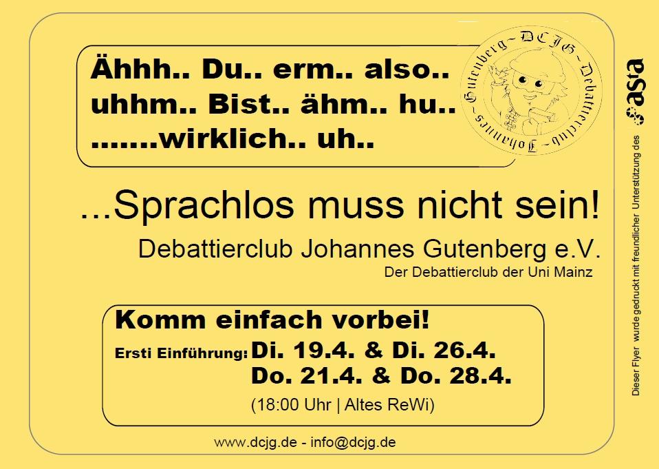 Flyer - Vorderseite Sprachlos bunt SS 2016